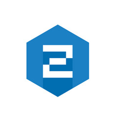 z initial logo design with blue hexagon flat icon vector image
