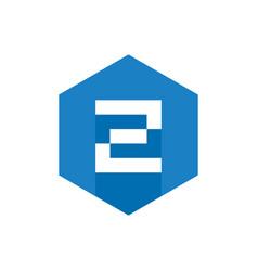 Z initial logo design with blue hexagon flat icon vector
