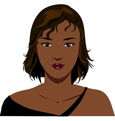 Attractive black woman face vector image vector image