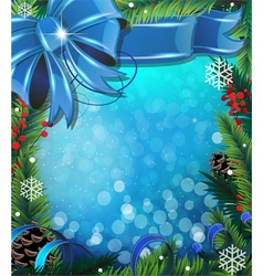 Bow ribbon and fir tree branches vector image