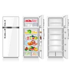 full and empty fridge isolated on white vector image