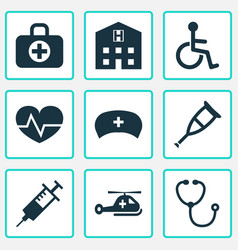 medicine icons set collection of injection vector image vector image