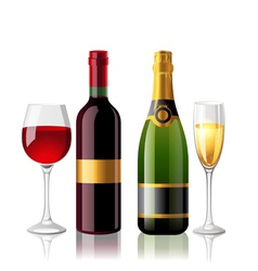 Wine and champagne vector