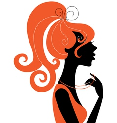 Beautiful girl silhouette profile vector image vector image
