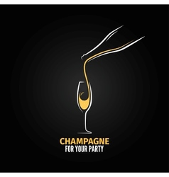 champagne glass bottle design background vector image vector image