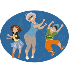 Dancing with grandma vector image vector image