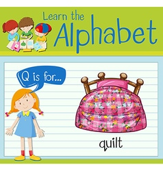 Flashcard letter q is for quilt vector