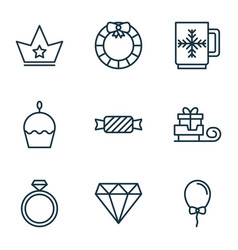 set of 9 celebration icons includes garland vector image