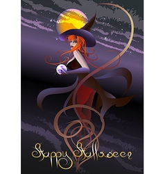 witch with a crystal ball vector image vector image