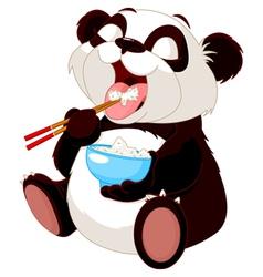 Cute panda eating rice vector image vector image