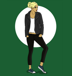 girl dressed in leather jacket and jeans eps10 vector image