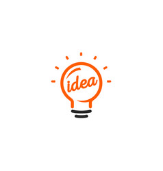 Isolated abstract orange color light bulb contour vector