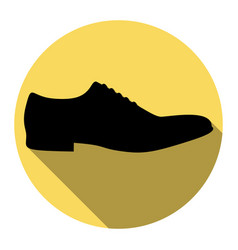 men shoes sign flat black icon with flat vector image