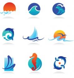 nature logos 02 sea theme vector image vector image
