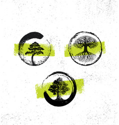 zen tree collection forest fog happiness painting vector image vector image
