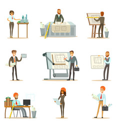 architect profession set of vector image vector image