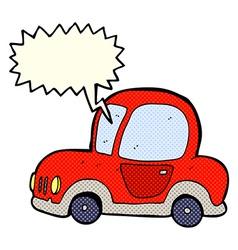 cartoon car with speech bubble vector image