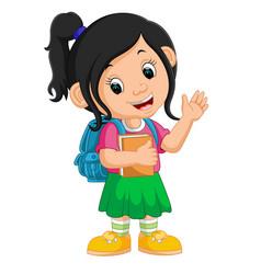 cute girl go to school cartoon vector image vector image