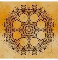 Grungy indian mandala Henna colored tribal design vector image