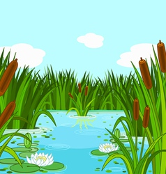 Pond scene vector image vector image