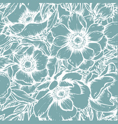seamless pattern with hand drawn anemone vector image