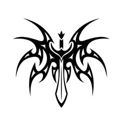 Winged sword tattoo vector image