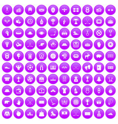 100 hockey icons set purple vector