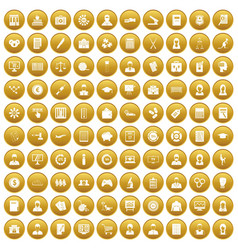 100 statistic data icons set gold vector