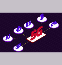 5g isometric infographic vector image