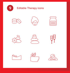 9 therapy icons vector image