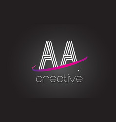 Aa a letter logo with lines design and purple vector
