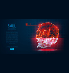 abstract silhouette polygonal skull human vector image