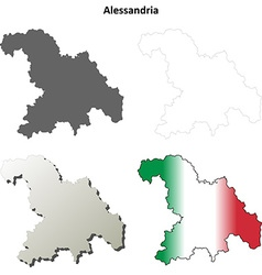 Alessandria blank detailed outline map set vector