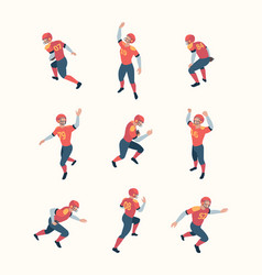 american football players isometric persons vector image