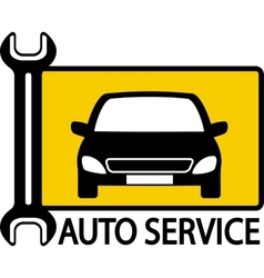 Autoservice sign with car and wrench vector