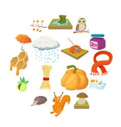 autumn icons set cartoon style vector image