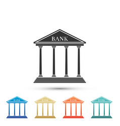bank building icon isolated on white background vector image