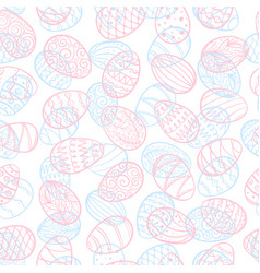 Beautiful seamless pattern doodle easter eggs vector