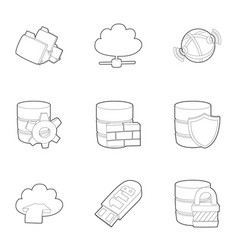 big data icons set outline style vector image