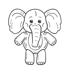 black and white a funny cartoon elephant on vector image