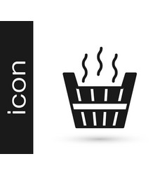 Black sauna bucket icon isolated on white vector