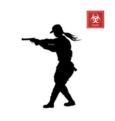 black silhouette police woman with gun vector image
