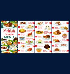 Britain cuisine menu template english meals vector
