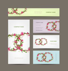 Business cards collection wedding design vector