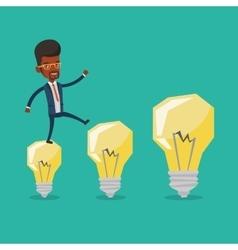 Businessman jumping on idea light bulbs vector