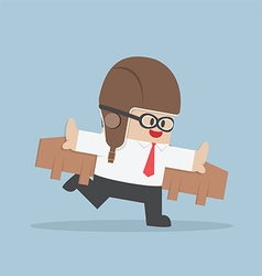 Businessman with pilot goggles and toy wings vector