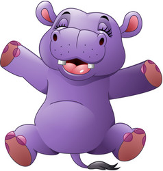 cartoon funny hippo vector image