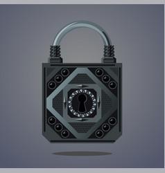 cartoon lock vintage icon fantasy vector image