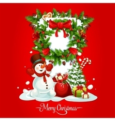Christmas card with snowman gift and xmas wreath vector image