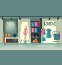 clothing shop interior fashion boutique vector image